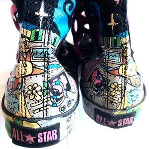 Converse Black Pastel Unicorn Cartoon sneakers